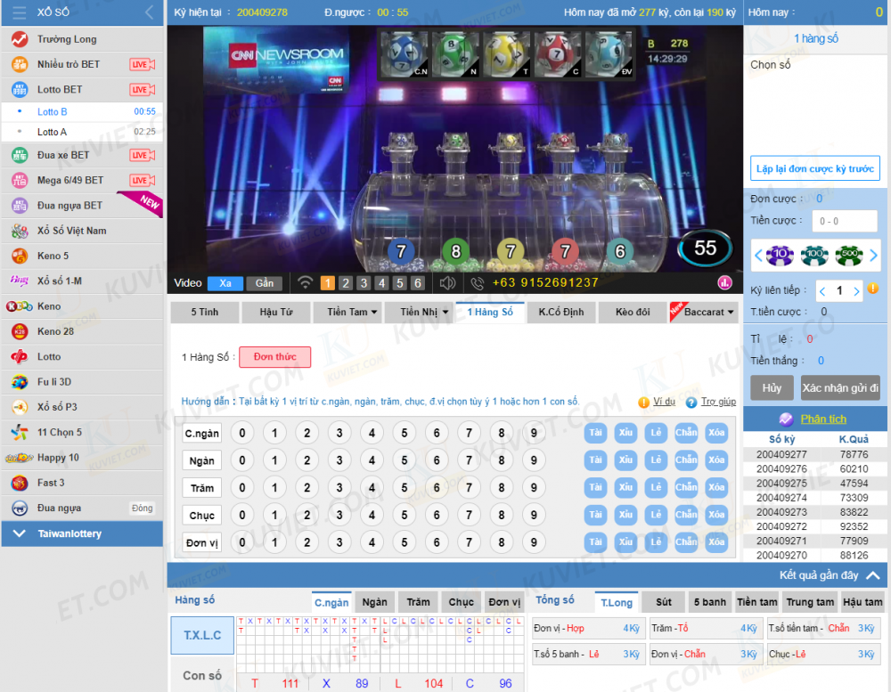 giao diện lotto bet